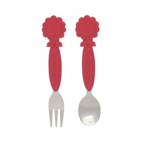 Marcus&marcus Juego de cuchara y tenedor rojo